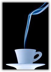 Cafe Creme (Bald Monk) Tags: china blue white hot cold robert cup colors handle photography cafe warm waves colours photographer smoke bald objects monk rob creme cigars saucer chine tunstall strobist objectschina