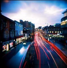 Holga CMY - Nottingham Centre *Explored* (Ash Dowie) Tags: camera city nottingham longexposure 120 6x6 film lights holga lomo lomography toycamera squareformat medium format vignette towncentre bulbsetting cfn explored colourroll holgacmy kodakportra160vcvivid transporttraffic