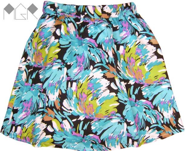 Falda fibrana tourquesa estampada pollera estampada verano 2010