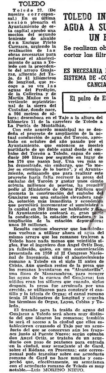 28-2-1969 Noticia de la futura construcción del embalse de Guajaraz. ABC
