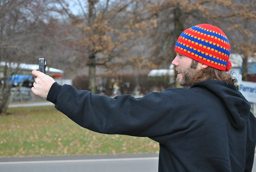 Luke logging some proprietary footage on the road with his Flip, somewhere in Ohio. Look how small that camera is.