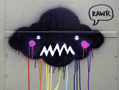dark cloud (Iain Burke) Tags: california winter cloud streetart cute face graffiti rainbow paint december rad robots rawr angry albany iain spraypaint drips 2009 burke albanycalifornia rosy electricalbox shockvalue winter2009 december2009 iainburke octopocalypse iainvandoucheberg vandoucheberg radrobots