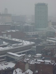 Birmingham in snow | Rotunda (AY Stock) Tags: city winter england snow weather skyline birmingham rotunda snowfall citycentre westmidlands bullring brum