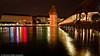 Chapel Bridge - at night | Lucerne, Switzerland (Aditya Bhelke) Tags: night geotagged switzerland nikon europe tour luzern 1855 lucerne 2009 kapellbrücke d40 geo:lat=47052448 geo:lon=8308454