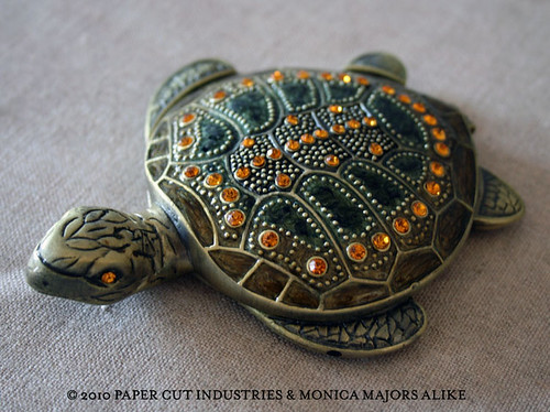 Ornate Vintage Turtle Compact