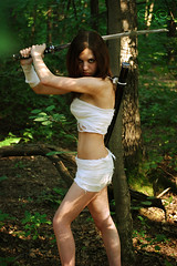Buke Girl (__jersey) Tags: trees green girl beautiful forest fighter sword warrior katana leafs 080809