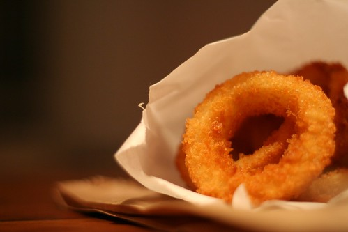 photo by sdeborja:  11 of 365: Craft Burger onion rings. Yes, this is my dinner on a Monday evening. Plus a cheeseburger, of course. Oh, and a Boylans rootbeer. Im a food whore.