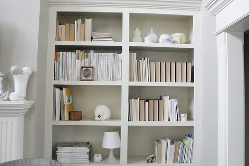 Family room bookshelf.