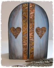 Faery Heart Shrine Closed (RavensFeatherStudio) Tags: wood art collage altered mixed media shrine candle heart altar fairy faery copper nicho