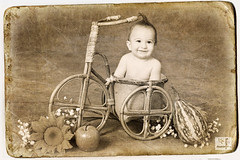 Full Pot of Happiness (MissSmile) Tags: old blackandwhite bw baby smile bicycle fruit photoshop vintage kid funny child creative adorable manipulation cutie retro delight flowerpot misssmile