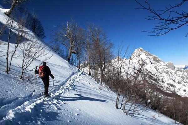 Scialpinismo alpi apuane, monte tambura.sullo sfondo il pisanino
