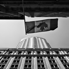 Maple Leaf (Philipp Klinger Photography) Tags: trip travel windows light shadow vacation sky bw white holiday toronto ontario canada black building up lines architecture facade america skyscraper leaf maple nikon pov flag north highrise amerika philipp flagge kanada klinger nordamerika lunifoli d700 dcdead