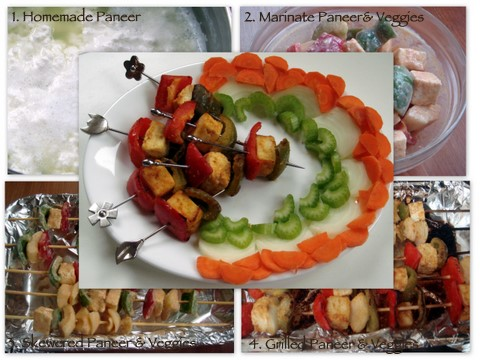 Collage of paneer tikka kebab with prep shoots.