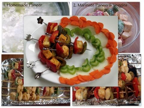 Collage of paneer tikka kebab with prep shoots.