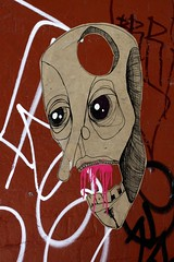 hole in the head (sensesmaybenumbed) Tags: streetart pasteup mouth skull graffiti fitzroy australia melbourne brunswickst kerrst