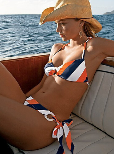 orange and blue striped bikini