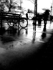 Rainy day (stephieseye) Tags: motion blur rain bicycle boston mobile photoshop reflections bench brookline iphone bostonist 365project 54365 day054 photogene yiip iphoneography 2242010
