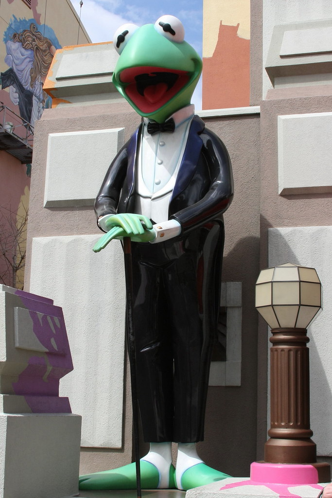 Kermit The Frog outside Muppet Store