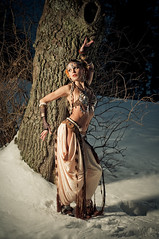 Tribal fusion (mrksaari) Tags: winter portrait snow cold tree beauty finland dance helsinki model dish tribal villa bellydance fusion 50mmf18d walimex aino sb80dx d300 profoto huvila strobist acuteb ackte honlphoto