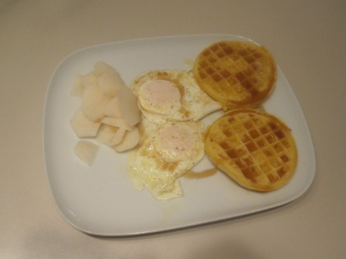 pear, eggs, waffles, maple syrup