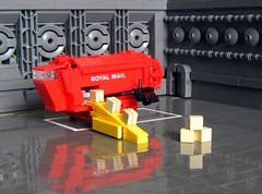 Royal Mail Transporter - Loading (Legoloverman) Tags: lego hangar micro spaceship royalmail diorama microscale spacewall