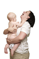 Mother Holding Baby 1 (Tampa Band Photos) Tags: pictures lighting family portrait people usa baby white cute male art love beautiful kids female photoshop canon pose paper studio naked nude tampa mom fun photography parents photo kid high funny key flickr humorous photographer child florida photos pics fineart butt bottom fine humor mother picture posing indoor pic artificial professional indoors whitebackground parent pro hi highkey dslr softbox seamless strobe hikey homestudio whiteseamless alienbees ligman offcamera strobist russrobinsonphotography httprussrobinsonphotographycom httpfacebookcomrussrobinsonphotography httprussrobinsonphotographyblogspotcom