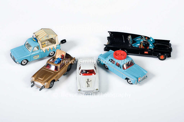 Collection of model Corgi diecast cars produced in the 1960's