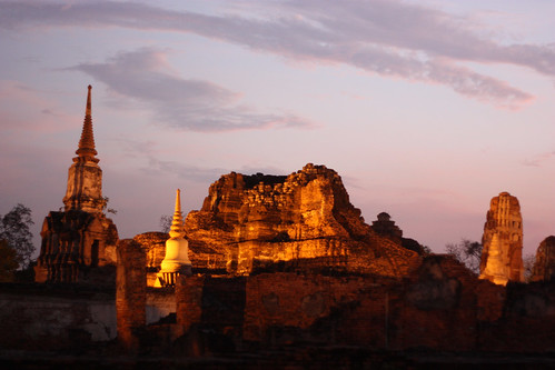 Ayutthaya ruins lit at night