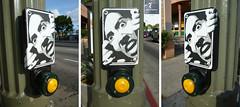 Crosswalk Stencil Sticker (datadreamer) Tags: california streetart sign graffiti losangeles stencil sticker media crosswalk koreatown mediaone