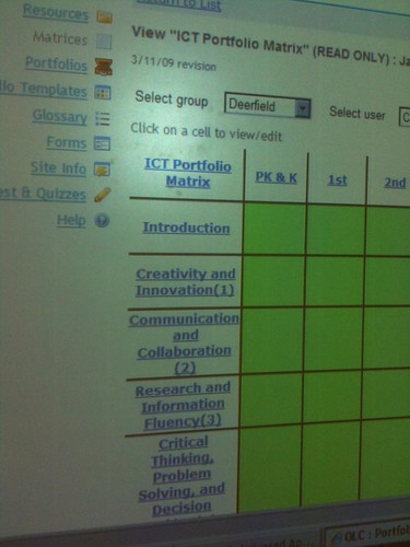 Close up of student portfolio (ISTE NETS-S aligned)