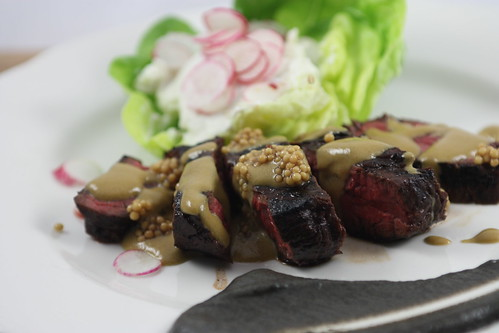 Marinated Hanger Steak, Eggplant, Goat Cheese, Shallots, Radish