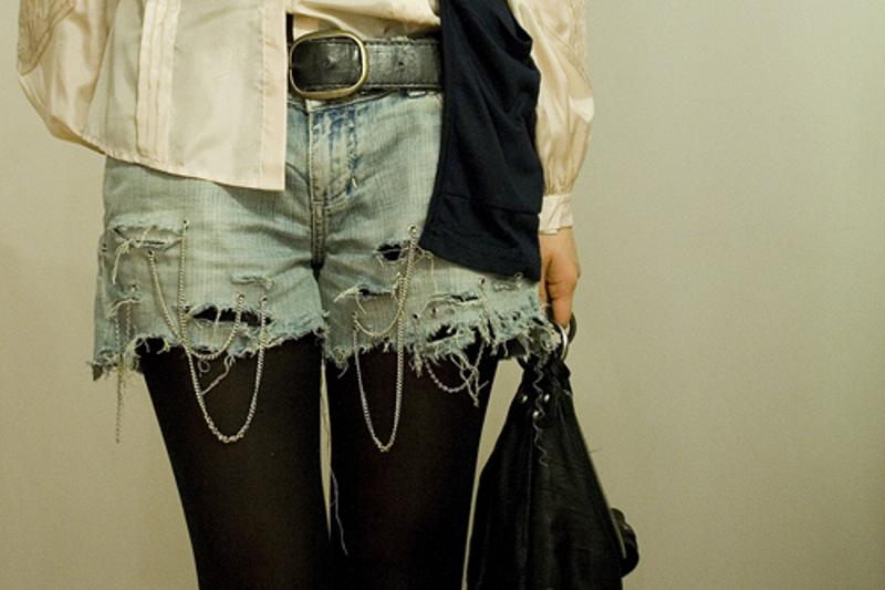 Park & Cube chain denim micro shorts 1