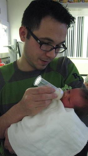 Daddy feeding Rosemary