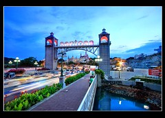 Sentosa (Kenny Teo (zoompict)) Tags: bridge blue light sunset sky cloud reflection tourism water beautiful architecture night canon wonderful landscape island scenery photographer waterfront view walk tourist best wanted bluehour sentosa kenny  sentosaisland bestphotographer canoneos500d bestscenery zoompict sentosagatway sentosagantry singaporelowerpiercereservoir