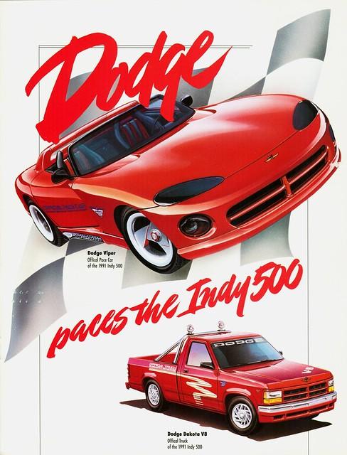 truck official dodge 1991 pacecar viper brochure dakota indy500