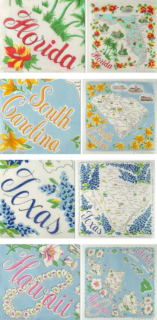 Vintage State Handkerchiefs