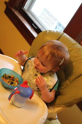 Annie eating a frittata
