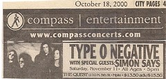 11/11/00 Type O Negative/Simon Says @ Minneapolis, MN (Ad)