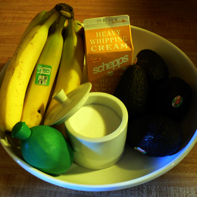 Ingredients for Avocado Banana Salad