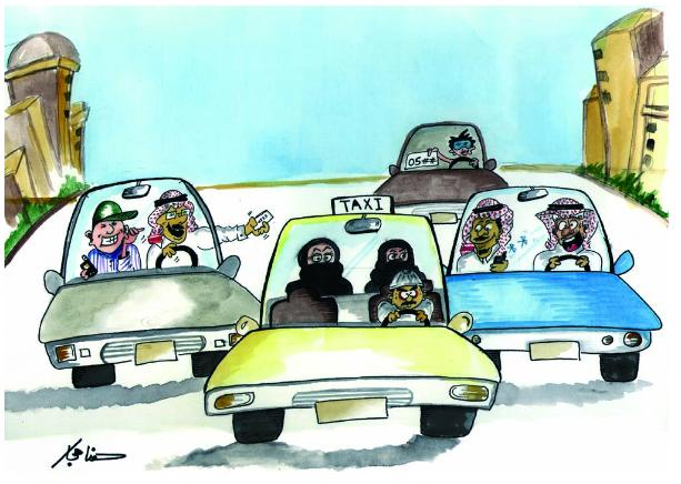two women in abayas and niqab riding in a taxi are bombarded on all sides by men, thrusting cell phones and phone numbers at them.