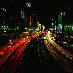 八丁堀 (akira ASKR) Tags: night hiroshima bronica streetcar e100vs 2009 広島 bronicas2 八丁堀 zenzabronica zenzabronicas2 ekthacrome akiraaskr