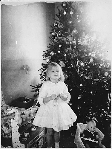 Photograph of Susan Ford (the Daughter of Gerald and Betty Ford) in Front of the Christmas Tree at the Ford Residence in Alexandria, Virginia, 12/1961