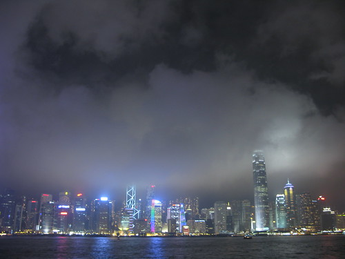 Hong Kong skyline light show
