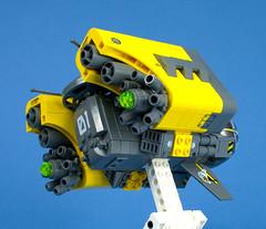 Hornet Bomber - 09 (Happy Weasel) Tags: yellow lego space hornet bomber moc starfighter