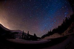 Hairpin for the Stars (Mike Berenson - Colorado Captures) Tags: winter sky nature night dark stars photography nikon colorado orion gemini allrightsreserved startrails milkyway berthoudpass d300 coloradocaptures 2010mikeberenson