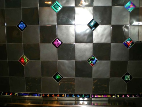 Uneek Glass Fusions Dichroic Fused Glass Tiles as Accent Tiles in a Custom Kitchen Backsplash