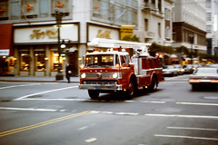 SF Fire Truck (Bob the Binman) Tags: california ca ford slide firetruck transparency swissair firetender sanfranciscofiredepartment july1975 fordcseries prakticaspertl