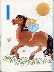 pikku-Marjan elinkirja 374 (vaula) Tags: horse sun girl illustration vintage children hevonen aurinko tytt kuvitus lastenkirja cildrensbook