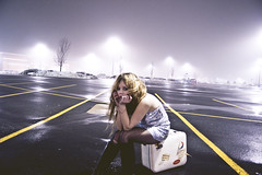 payforme (yyellowbird) Tags: winter selfportrait girl fog parkinglot cari suitcase