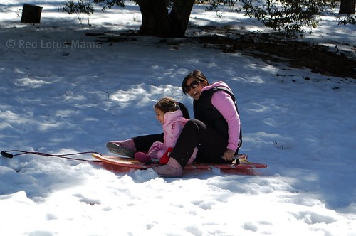 sledding sideways